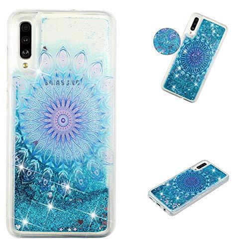 TRBOL Galaxy A50 2019 Hülle Glitzer Bling Liquid Flüssig Tasche Schutzhülle Handyhülle Transparent mit Muster Ultra Slim Dünn Silikon Bumper Etui (7) - Aus Bling Telefon-kästen
