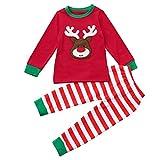 Schneeoverall Baby Hirolan Weihnachten Winteranzug Festliche Kinderkleider Kinder Mädchen Jungen Hirsch Tops Streifen Hose Kleinkind Lange Ärmel Outfit Set Kleider (110, Rot)
