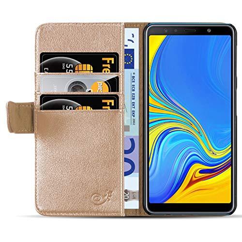 JAMMYLIZARD Lederhülle für Samsung Galaxy A7 2018 | Ledertasche [ Classic Wallet Tasche Series ] Schimmer Leder Book Case Hülle Flip Cover Schutzhülle mit Kartenfach, Antikes Gold