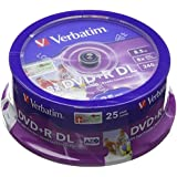 Verbatim 43667 DVD+R Double Layer 8X Printable Surface 8,5 Go Spindle de 25