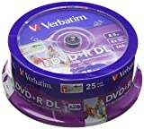 Verbatim DVD+R Double Layer 8x Speed 8,5 GB, stampabili, confezione da 25