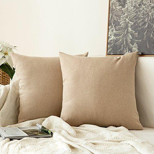 MIULEE 2er Pack Home Dekorative Kissenbezug Kopfkissenbezug Leinen Kiessehülle für Sofa Schlafzimmer Auto mit Reißverschlüsse 40x40 cm Kissenbezüge Helle Leinen -