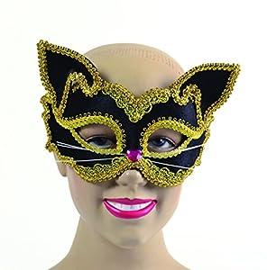 Bristol EM704 - Máscara de gato para mujer, talla única, color negro y dorado