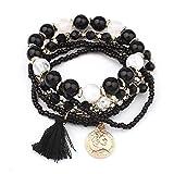 Bellelove Femmes Élégant Bracelets Élastique Multicouche Perles Jade Pas Cher Bracelets Bracelet Acrylique Bracelet Glands Bracelets Match Dress (Noir)