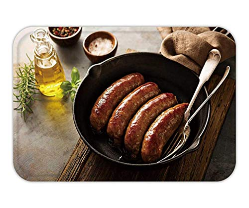 CHKWYN Doormat Homemade Sausage with Italian Herbs and Cheese in a cast Iron pan 15.7X23.6 Inches/40X60cm -