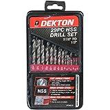 Dekton DT80215 - Juego de brocas para metal (acero rápido, 1 a 13 mm, 29 piezas)