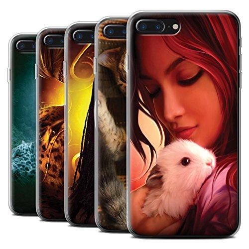 Officiel Elena Dudina Coque / Etui Gel TPU pour Apple iPhone 7 Plus / Oui Maman/Lion/Petit Design / Les Animaux Collection Pack 16pcs