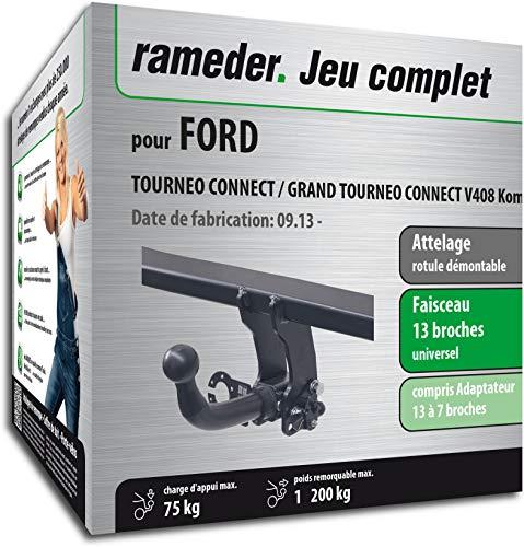 Faisceau /électrique 7 Broches 145559-04933-1-FR Rameder Pack attelage rotule Standard 2 Trous pour Ford TOURNEO Connect