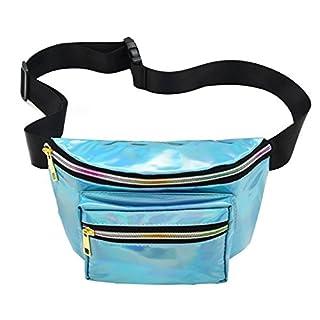 NaiCasy Gürteltasche Sport Hüfttasche Faltbare Hüfttasche Laser Wasserdicht Reflektierende Tasche Mit Verstellbaren Gürtel für Festival Reise Party Taschen Für Konzert oder Rave 1 Stück Hell blau