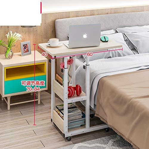 JiaQi Höhenverstellbar Medizinische Tabelle Overbed,Mobile Laptop-Tisch Mit Rollen,Krankenhaus Computer Schreibtisch Für Das Studium Lesen Frühstückstasse Tabelle-m 60x40cm(24x16inch) - Höhenverstellbare Pc-wagen