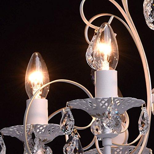 Deckenleuchte Kronleuchter weiß Kristall klar Metall klassisch Ø - 8