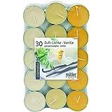 30 farbig sortierte Duft - Teelichte, 4 Std Brennd., Duft: French Vanilla, Markenware von Müller Kerzen