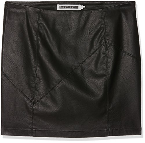 NOISY MAY Damen Rock Nmrebel PU NW Short Skirt Noos, Schwarz (Black), 42 (Herstellergröße: XL)
