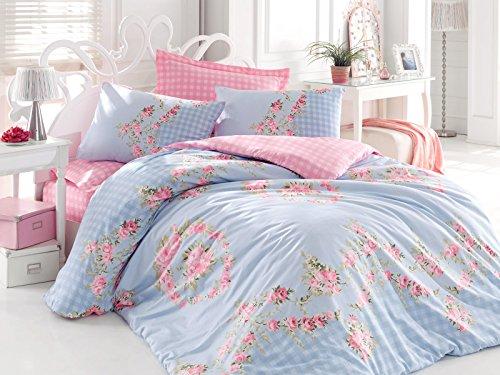 Sofi 100% cotone Set trapunta e copricuscini in confezione regalo, colore: blu, reversibile, 100% cotone, blu, King