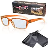 SJ3D Passive 3D Brille für Kinder – Orange / Transparent - Polfilterbrille zirkular polarisiert - Für RealD 3D Kino & TV: LG Cinema 3D Philips Easy 3D Telefunken Toshiba 3D Natural Vizio 3D und 3DTVs von SONY Grundig Panasonic Hisense CMX uvm. - Inkl. Mikrofaser Brillenbeutel und Putztuch