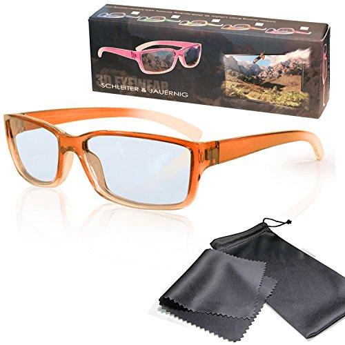 SJ3D Passive 3D Brille für Kinder – Orange / Transparent - Polfilterbrille zirkular polarisiert - Für RealD 3D Kino & TV: LG Cinema 3D Philips Easy 3D Telefunken Toshiba 3D Natural Vizio 3D und 3DTVs von SONY Grundig Panasonic Hisense CMX uvm. - Inkl. Mikrofaser Brillenbeutel und Putztuch