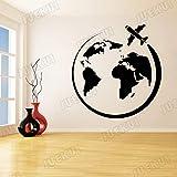 Avion Autour du Monde Amovible Stickers Muraux pour Le Salon Home Art Décoration Vinyle Stickers Muraux Fond Affiche Rose 110X116 cm
