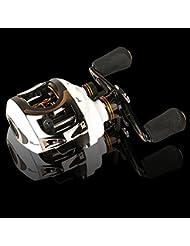 Entsport carrete de agua salada del bastidor de cebo de pesca carrete de perfil bajo del carrete del bastidor 10 + 1 rodamientos a bolas de cebo fundido derecho / zurdo lanzador de cebo carrete de pesca Saltwater Baitcasting Fishing Reel casting reel (Para zurdos)