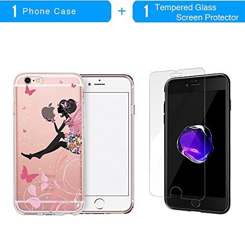 iPhone 6S Hülle, TrendyBox Transparent Weiche TPU Ränder mit hartem PC Rückdeckel Schutzhülle Hülle für iPhone 6/6S mit Gehärtetem Glas Displayschutzfolie (Bunte Musik) 116