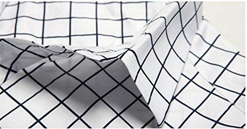 Icegrey Herren Hemd Sklassische Slim Fit Plaid Langarm Kleiderhemd Weiß