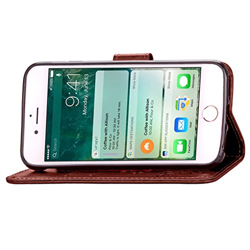 iPhone 7 Custodia, SATURCASE Clover Fortunato Pelle Sintetica Flip Magnetico Portafoglio Supporto [Slot per Schede] Protettivo Caso Case Custodia Cover per Apple iPhone 7 4.7 (Marrone) Marrone