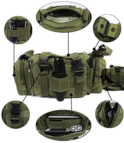 FakeFace 600D Polyester Lenkertasche Fahrradtasche zur Befestigung am Lenker auch als Schultertasche Umhängetasche für Radfahren Reise Camping 32 x 11 x 17 CM (Silbergrau) Armeegrün