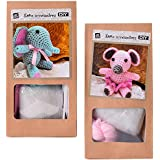 Lot de 2DIY Mini Kit crochet Kit de bricolage Crochet Animaux Souris ou éléphant soi-même Crochet et offrir 10cm Rose Turquoise - Souris Éléphant