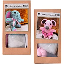 2 Piezas DIY Mini Conjunto ganchillo Kit artesanía Haekeltier Ratón o Elefante para Mismo Croché y Regalar 10 cm rosa turquesa - Ratón Elefante