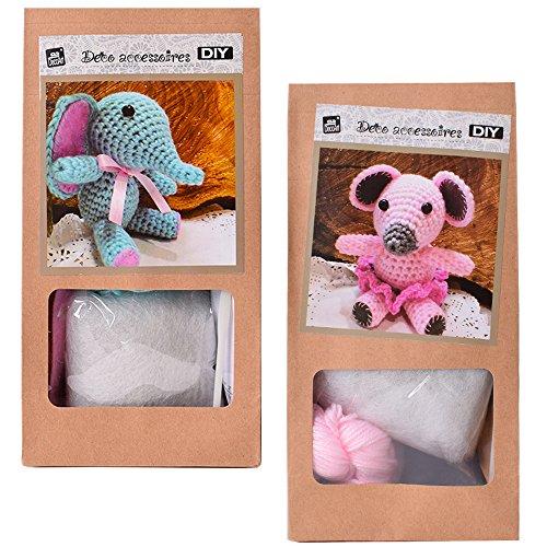 Lot de 2DIY Mini Kit crochet Kit de bricolage Crochet Animaux Souris ou  éléphant soi- 425ced9dc162