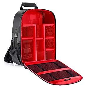 Neewer fotocamera custodia zaino impermeabile antiurto 31x 14x 37,1cm/31x 14x 37centimeters borsa (interno rosso) e kit di lenti pennello, panno di pulizia in microfibra per fotocamere DSLR, mirrorless, flash, treppiedi, obiettivo