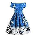 YWLINK Mode Off Shoulder Damen Retro Elegant Swing Kleid Weihnachten Schneeflocke Druck Cocktail Rock Eine Linie Weihnachten Schneeflocke(L,Blau)