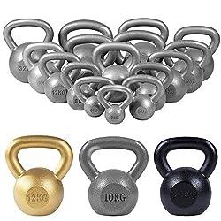 GORILLA SPORTS® Kettlebell 2-32 kg Gusseisen Einzeln/Set - Fitness-Kugelhantel in 17 Gewichtsvarianten Gold/Silber/Schwarz (12 KG, Silber)
