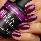 Pink Gellac 173 Bordeaux UV Nagellack. Professionelle Gel Nagellack shellac für mindestens 14 Tage perfekt glänzende Nägel