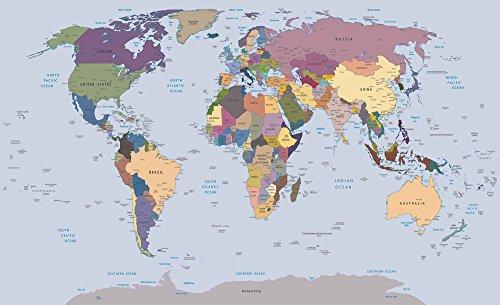 Tapeto Papel pintado fotográfico Mundo Tarjetas, viaje y Universo–Mapa del Mundo–Tamaño XS S M L XL XXL XXXL–Papel o papel, Azul