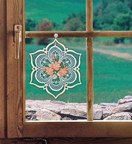 Fensterbild Blüten im Holzrahmen lachs 19 x 20 cm (BxH) echte Plauener Spitze mit erzgebirgischer Holzkunst inkl. Saughaken
