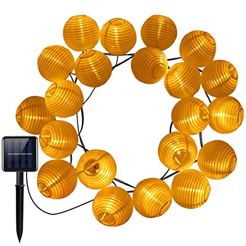 AMIR Solar Outdoor Lichterkette, 16ft 20 LEDs Lampions Laterne Solarbetrieben Lichterkette Wasserfest Weihnachten Dekoration für Garten, Terrasse, Halloween, Weihnachten, Feiern - Warmweiß
