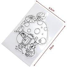 Yiyilam Mushroom House & Ladybug Scrapbooking Sellos Transparentes De Caucho De Silicona Transparente, Perfecto para