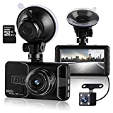 ULU Car Dash Cam 170°Wide Angle Front and Rear Dual Lens 1080P Full