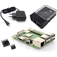 Raspberry Pi 3 Modell B+ - Light Starterkit - Bestehend aus: Neustem 2018 Raspberry Pi 3 Model B+, Micro USB Netzteil 5V / 2,5A, HAT kompatibles Raspberry Pi Gehäuse schwarz/transparent und Kühlkörper-Set