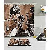LB 180X180CM 3D impression polyester Tissu Rideau de douche & Antidérapant Tapis de bain ensemble Une femme africaine qui chante avec deux hommes en accompagnemen Modèle Imperméable anti-moisissure bain Rideau avec 12 crochets en plastique