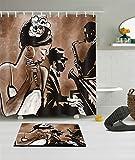 LB 180x180cm Bagno Tende da doccia impermeabile Poliestere tessuti Una donna africana che canta con due uomini in accompagnamento Modello Tenda per Doccia + 12 anelli per tende + tappetino bagno per Bagno Decorazione