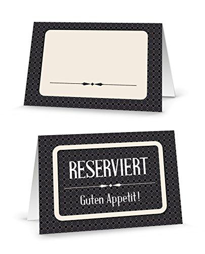 100 Stück Reserviert-Schilder schwarz-weiße edle Tischkarten beige Klappkarten klassisch zum Hinstellen Tisch-Reservierung für Gäste Hochzeit Kommunion Taufe Geburtstag