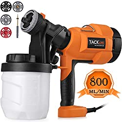 Tacklife Paint Sprayer, SGP15AC Electric Paint Spray Gun, 3 Spraying Patts, 900 ml Paint Container, Easy-used for Painting Projectserns with 4 Nozzle
