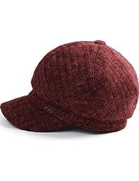 NJ Cappello- Cappellino Ottagonale a Forma di Lingua D Anatra in Maglia  Antracite da Donna Coreana Moda Autunno e Inverno (Colore   Red c17f8385ca7e