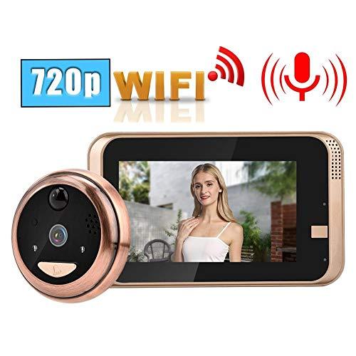 ASHATA HD Mirilla Wireless,Puerta Video Timbre Inal/ámbrico de 1 Mill/ón de P/íxeles con Pantalla LCD TFT de 4.3 Pulgadas(Detecci/ón de Movimiento PIR//Visi/ón Nocturna IR//Antirrobo PIR) Plug UE.