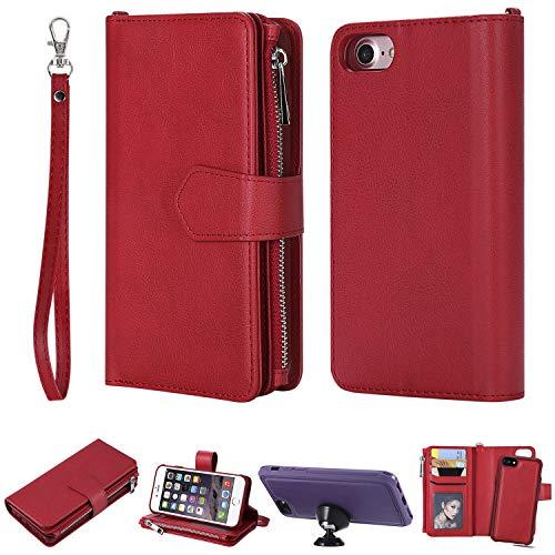 """FNBK Handyhülle für iPhone 6,iPhone 6S Case Hülle Rot, Brieftasche Lanyard Handtasche Leder hülle Wallet Flip Cover Stand Kartenfach Reißverschluss Magnet Schutzhülle für iPhone 6/iPhone 6S 4.7"""""""