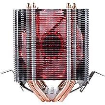 upHere Refrigerador del procesador con ventilador PMW de 92 mm - Refrigerador de la CPU para AMD: FM2(+), FM1, AM3, AM3+, AM2, AMD 2+, 939, 754; Intel: 1366, 1150 (Haswell), 1155, 1156, 775 hasta 200 vatios de rendimiento t¨¦rmico,double tower rojo