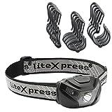 LiteXpress Set LED-Stirnlampe mit Helmhalterung, Kunststoff, Schwarz, 6,5 x 4,4 x 3,5 cm, 2 Einheiten