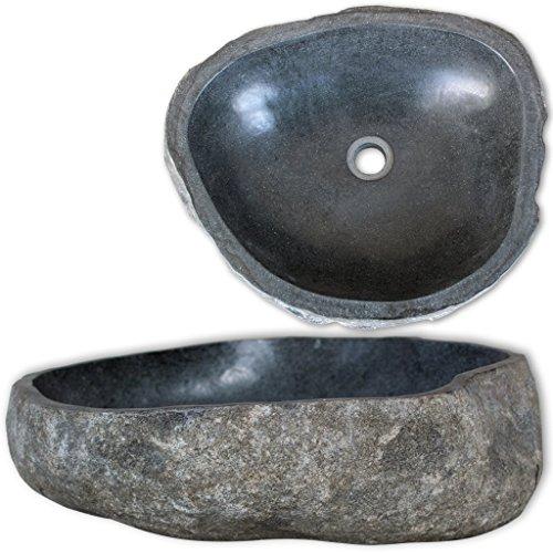 vidaXL Waschbecken Flussstein Oval 30-37 cm Aufsatzwaschbecken Waschschale