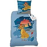 CTI 044223 Housse de Couette Enfant Kion La Garde du Roi Lion Coton Bleu 200 x 140 cm + Taie 63 x 63 cm